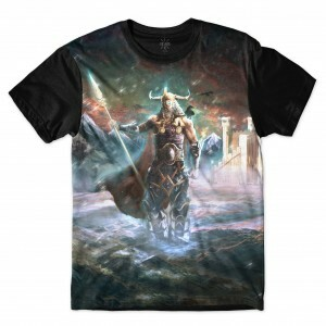 Camiseta Insane 10 Cultura Viking Odin Full Print Azul