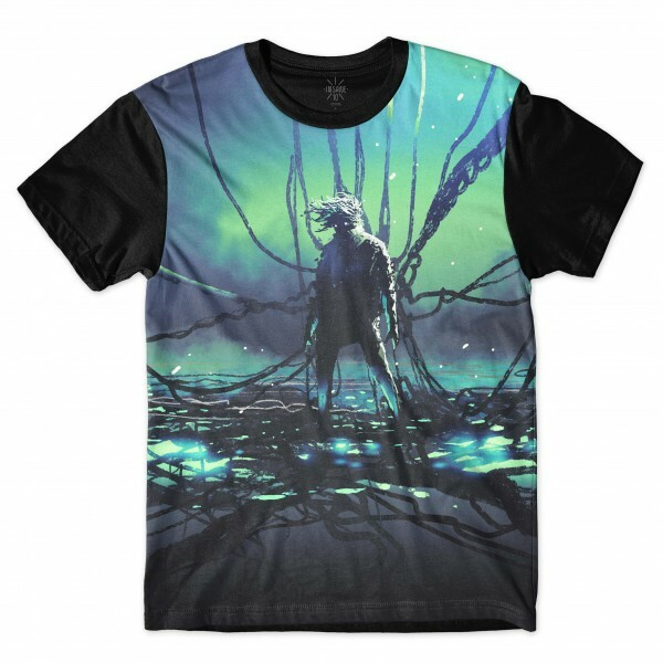 Camiseta Insane 10 Sci-Fi Android Acorrentado Full Print Azul