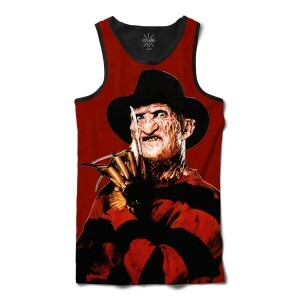 Regata Insane 10 Terror Freddy Krueger Hora do Pesadelo Full Print Vermelho