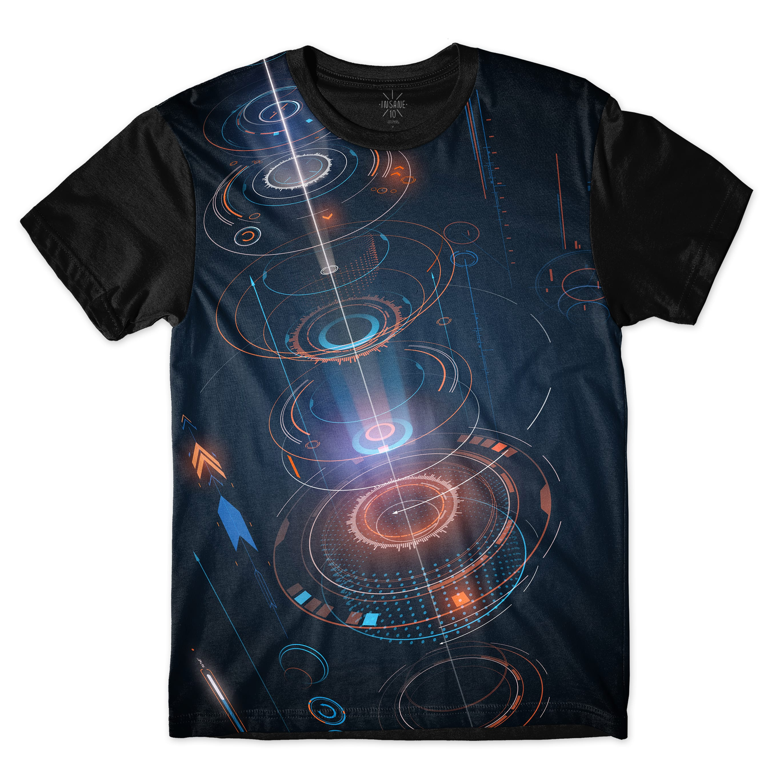 Camiseta Insane 10 Tecnologia Abstrata Interface Circulos Full Print Azul