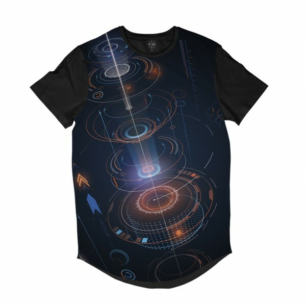 Camiseta Longline Insane 10 Tecnologia Abstrata Interface Circulos Full Print Azul