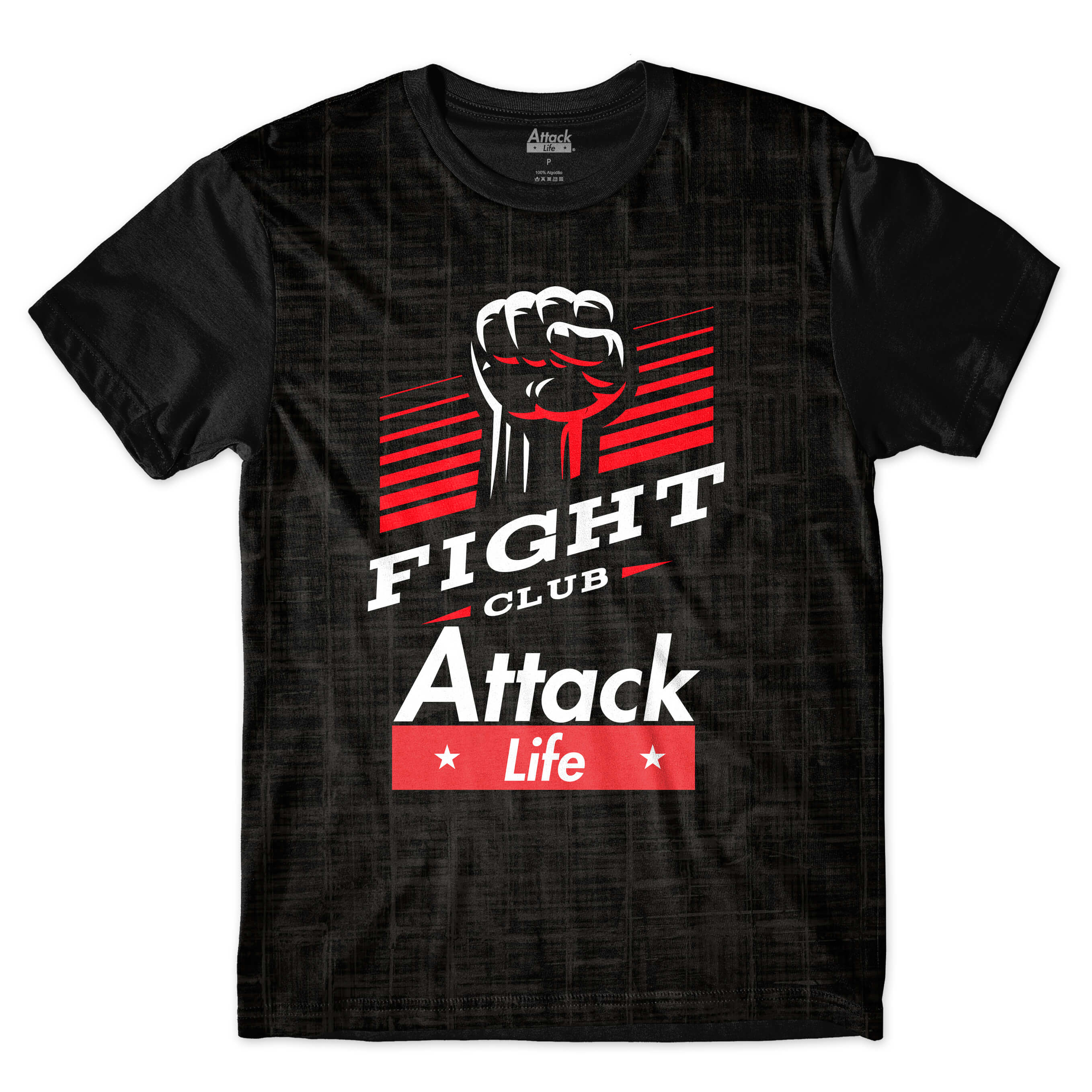 Camiseta Attack Life Lutas e Musculação Fight Club Full Print Preto