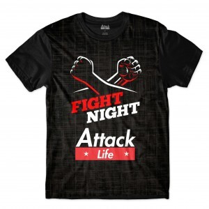 Camiseta BSC Lutas e Musculação Fight Night Sublimada Preto