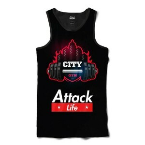Camiseta Regata Attack Life Lutas e Musculação City Gym Full Print Preto