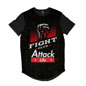 Camiseta Longline Attack Life Lutas e Musculação Fight Club Full Print Preto