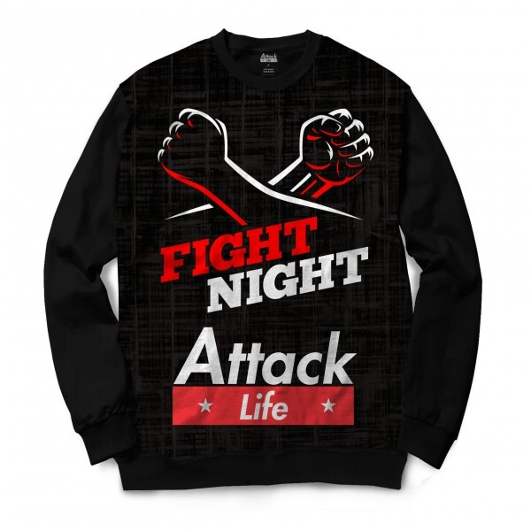 Moletom Gola Careca Attack Life Lutas e Musculação Fight Night Full Print Preto