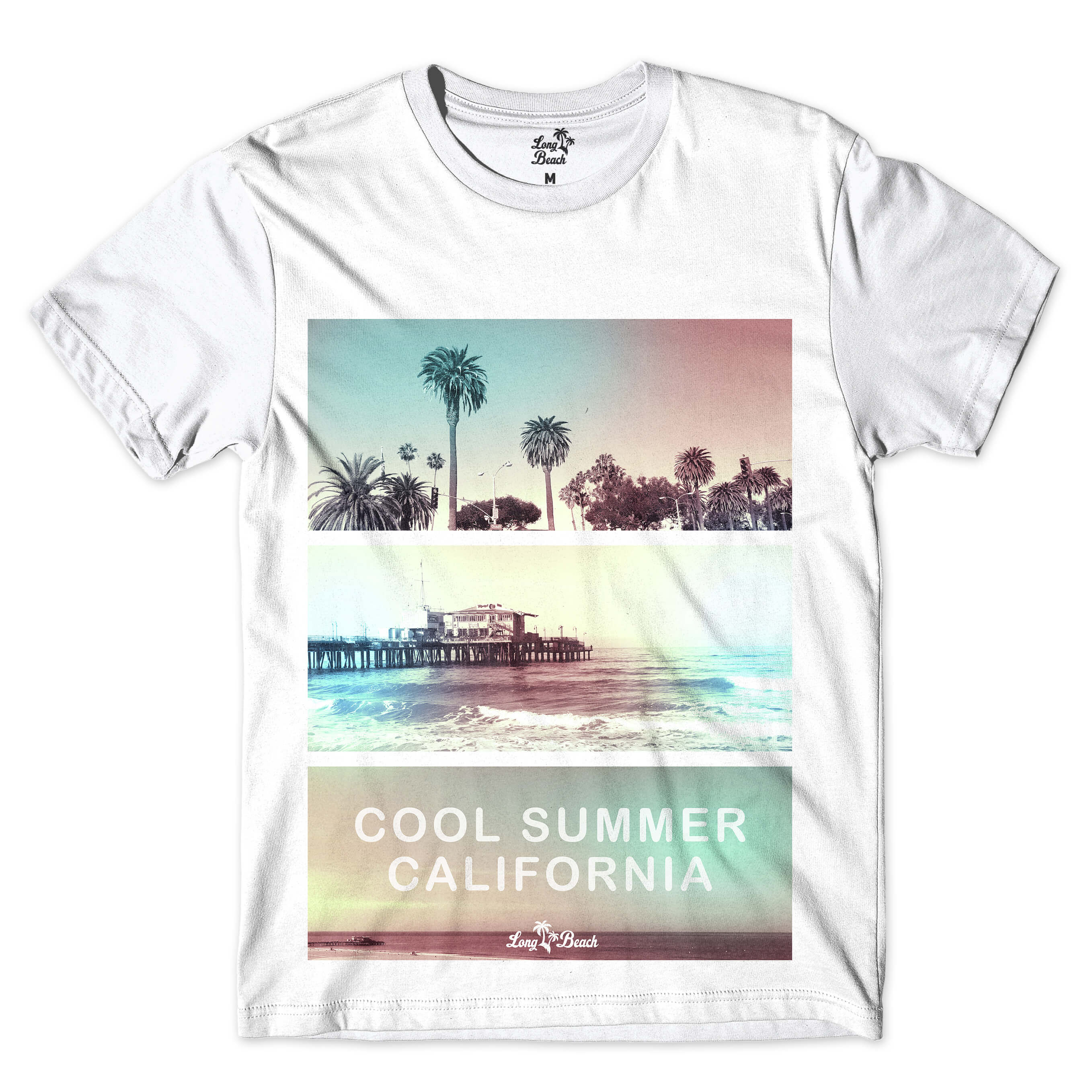 Camiseta Long Beach Verão Californiano Full Print Branco