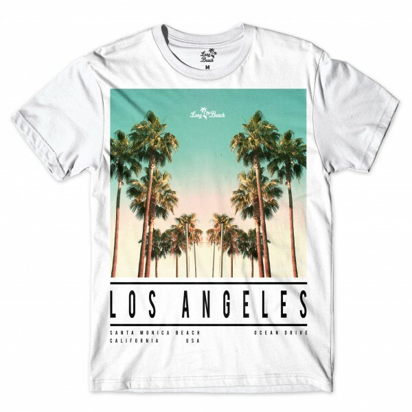 Camiseta Long Beach LA Beach Full Print Branco