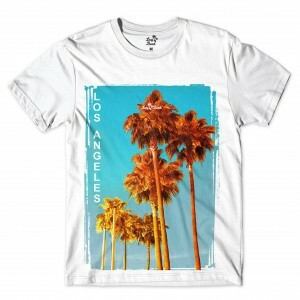 Camiseta Long Beach Los Angeles Tree Full Print Branco