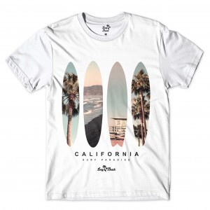 Camiseta Long Beach Pranchas Full Print Branco