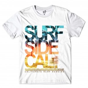 Camiseta Long Beach Sessão de Surf Full Print Branco
