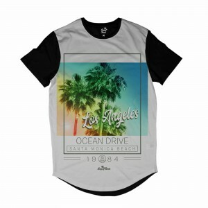 Camiseta Longline Long Beach Santa Monica 1984 Full Print Branco