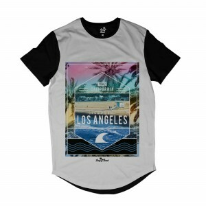 Camiseta Longline Long Beach Los Angeles 1982 Full Print Branco
