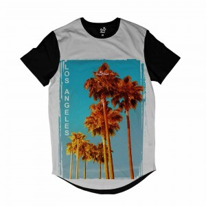 Camiseta Longline Long Beach Los Angeles Tree Full Print Branco