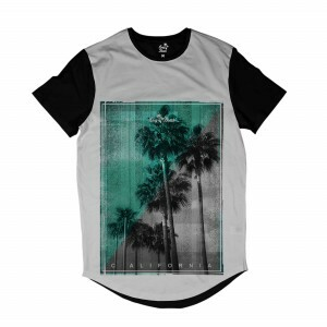 Camiseta Longline Long Beach Vintage Full Print Branco