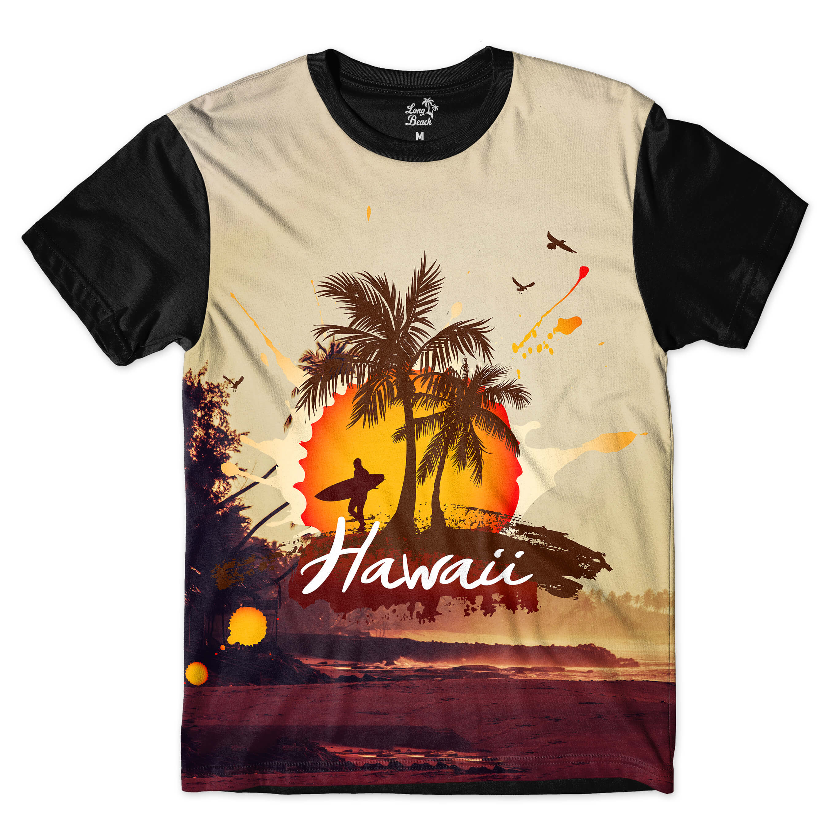 Camiseta BSC Hawaii Enseada Sublimada Amarelo