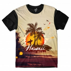 Camiseta Long Beach Hawaii Enseada Full Print Amarelo