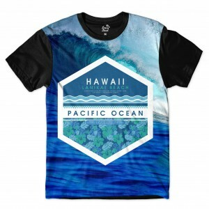 Camiseta Long Beach Hawaii Onda Full Print Azul