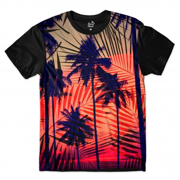 Camiseta Long Beach Hawaii Tribal Full Print Vermelho
