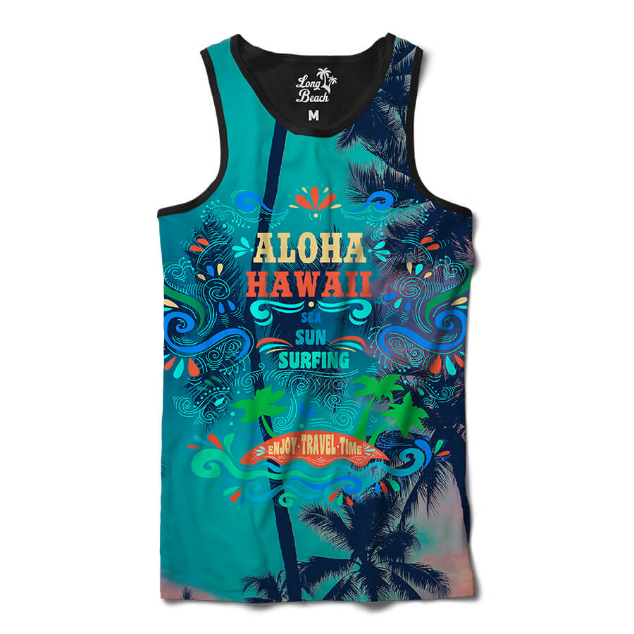 Camiseta Regata Long Beach Hawaii Aloha Full Print Colors