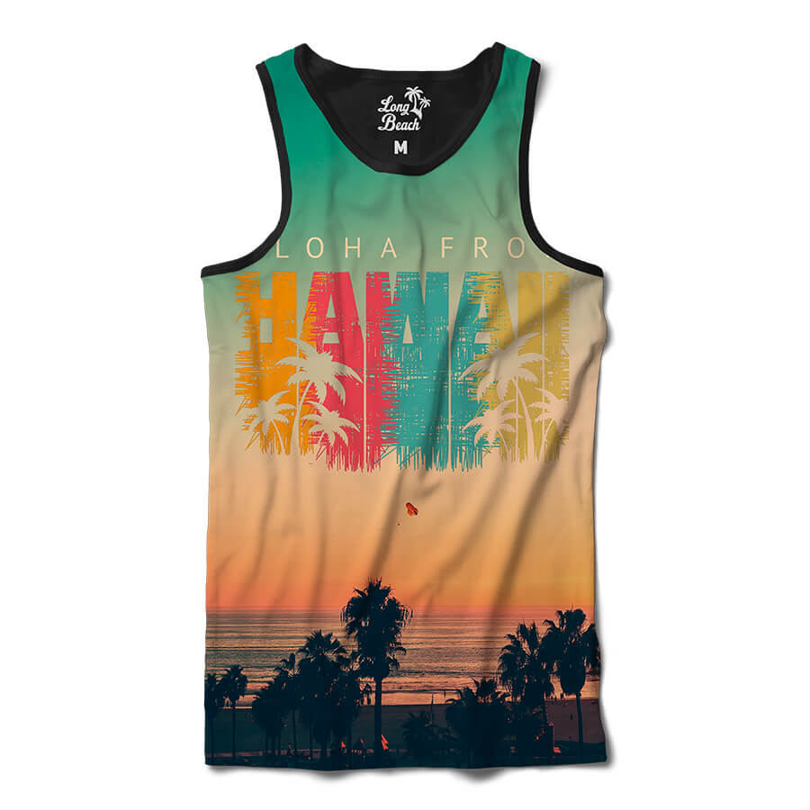 Camiseta Regata Long Beach Hawaii Nascer do Sol Full Print Colors