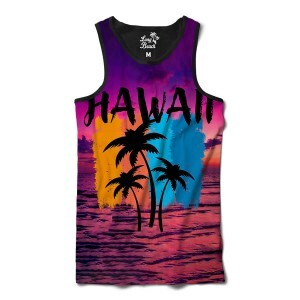 Camiseta Regata Long Beach Hawaii Purple Sky Full Print Roxo Brilho