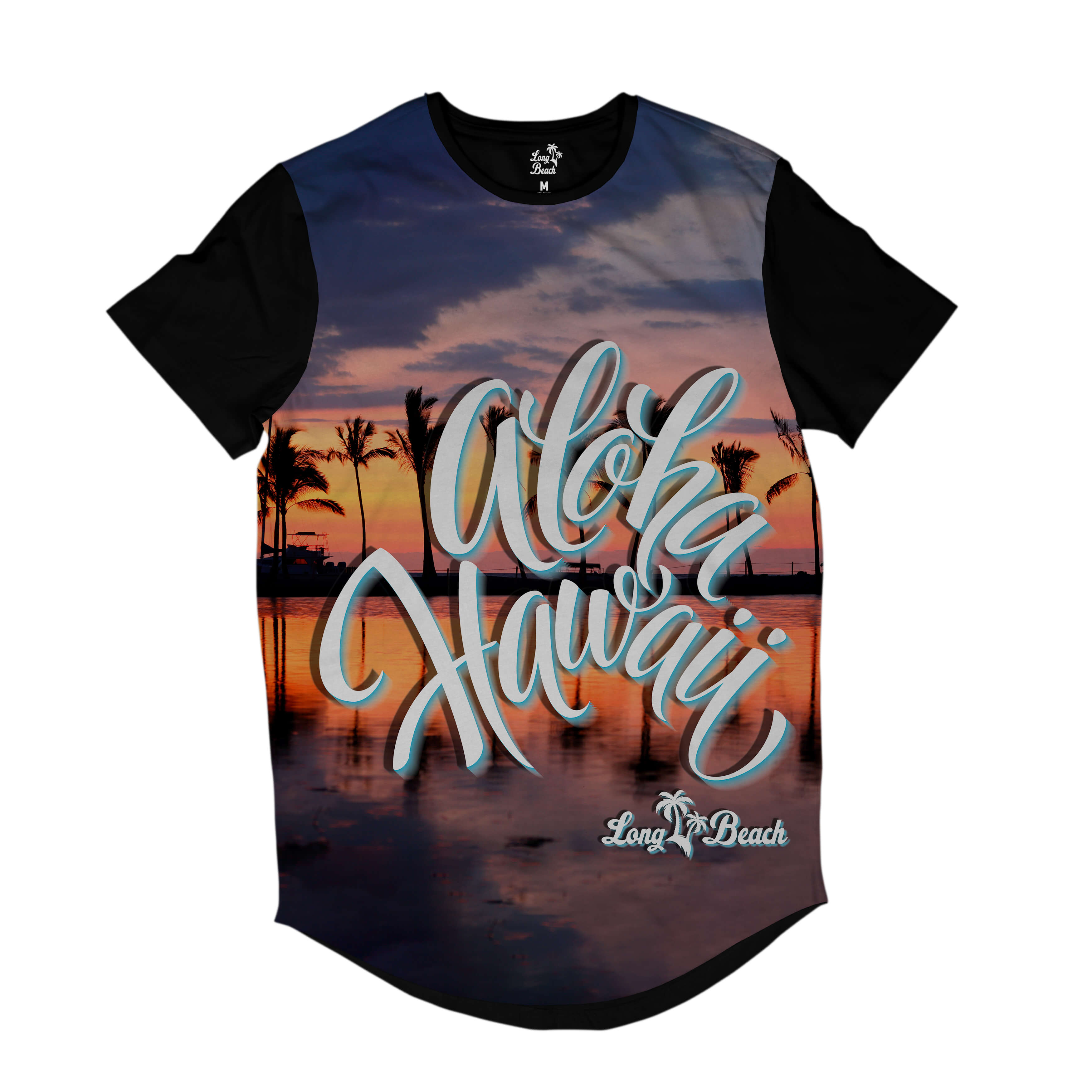 Camiseta Longline Long Beach Hawaii Pôr do Sol Full Print Laranja