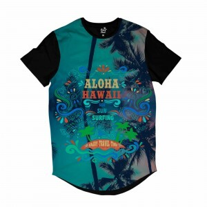 Camiseta Longline BSC Hawaii Aloha Sublimada Colors