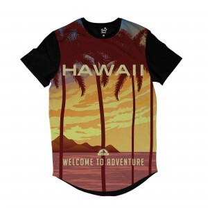 Camiseta Longline BSC Hawaii Aventura Sublimada Marrom