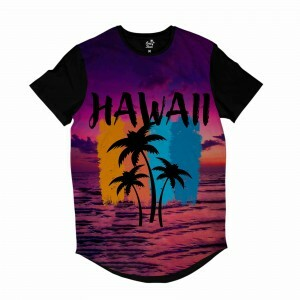 Camiseta Longline Long Beach Hawaii Purple Sky Full Print Roxo Brilho
