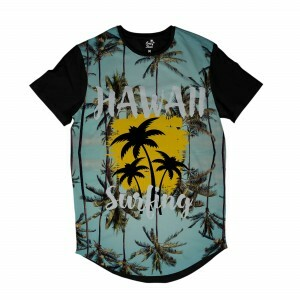 Camiseta Longline Long Beach Hawaii Surf Full Print Azul