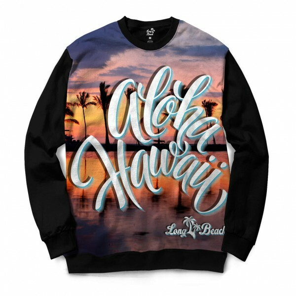 Moletom Gola Careca Long Beach Hawaii Pôr do Sol Full Print Laranja