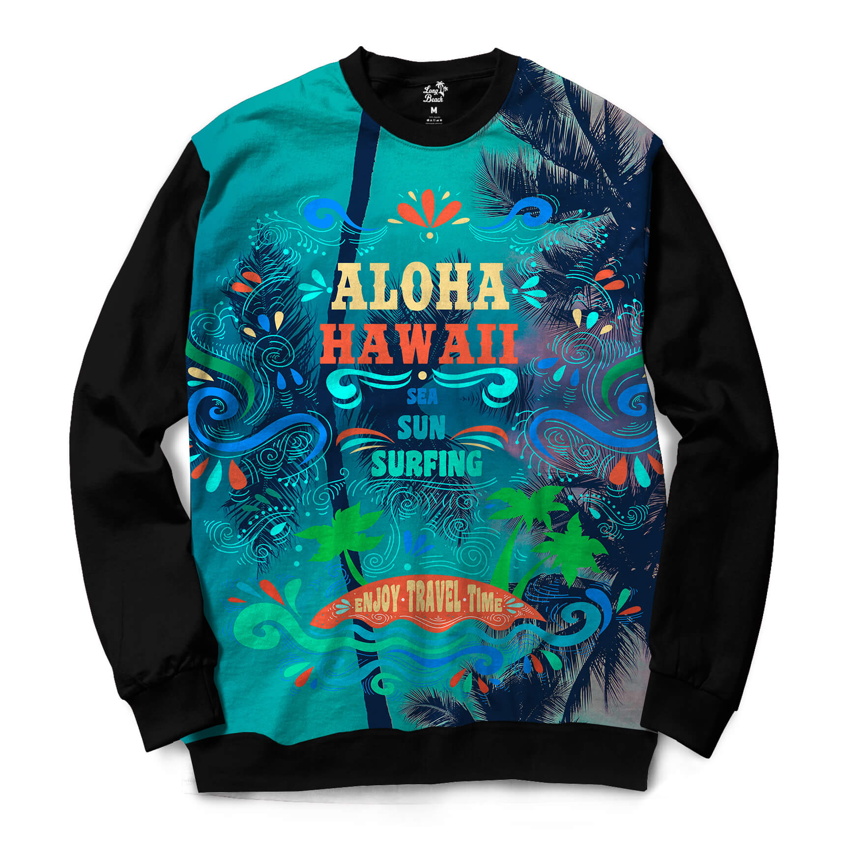 Moletom Gola Careca Long Beach Hawaii Aloha Full Print Colors