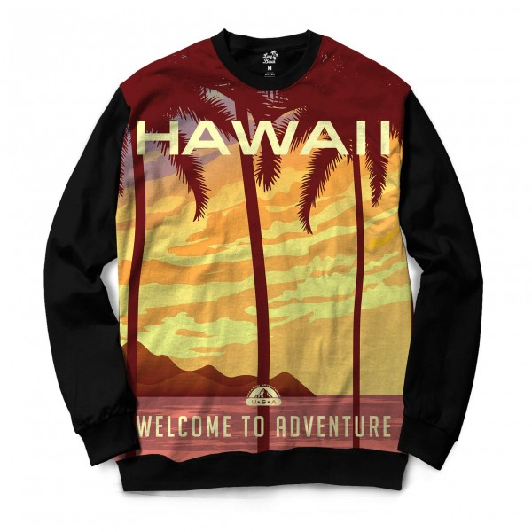 Moletom Gola Careca Long Beach Hawaii Aventura Full Print Marrom