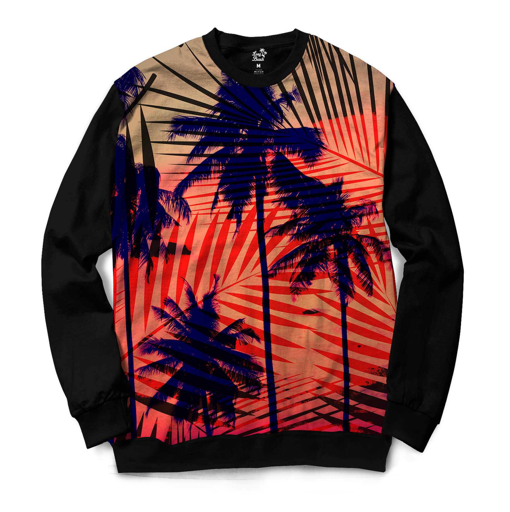 Moletom Gola Careca Long Beach Hawaii Tribal Full Print Vermelho