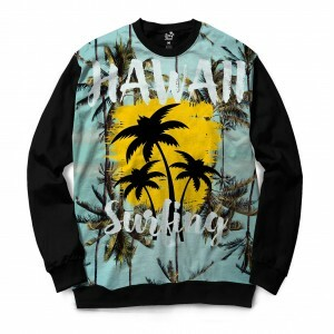Moletom Gola Careca Long Beach Hawaii Surf Full Print Azul