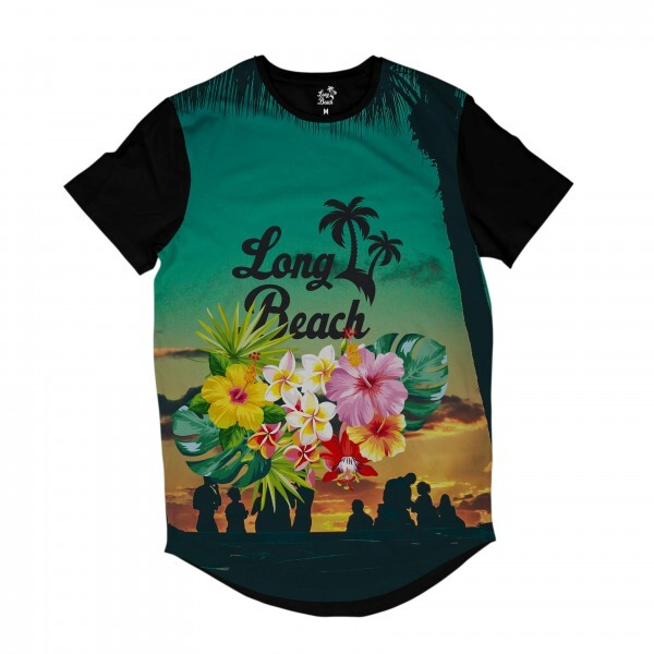 Camiseta Longline Long Beach Long Beach Floral Full Print Colors