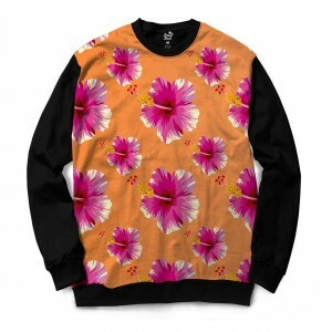 Moletom Gola Careca Long Beach Flores Full Print Laranja