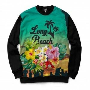 Moletom Gola Careca Long Beach Long Beach Floral Full Print Colors