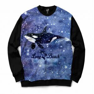 Moletom Gola Careca Long Beach Marinhos Aquarela Orca Full Print Azul