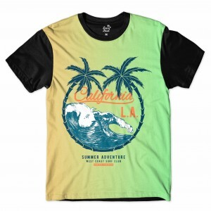 Camiseta Long Beach Los Angeles Ondas Full Print Verde