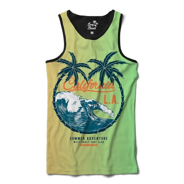Camiseta Regata Long Beach Los Angeles Ondas Full Print Verde
