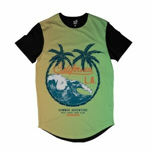 Camiseta Longline Long Beach Los Angeles Ondas Full Print Verde
