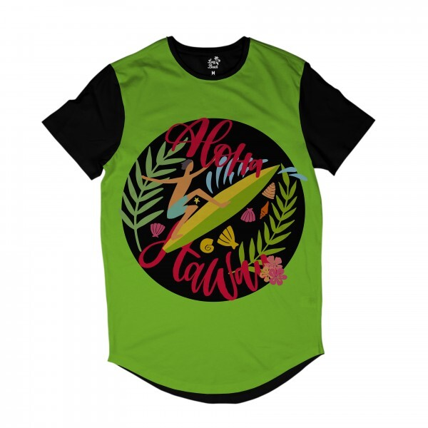 Camiseta Longline Long Beach Aloha Surfista Full Print Verde