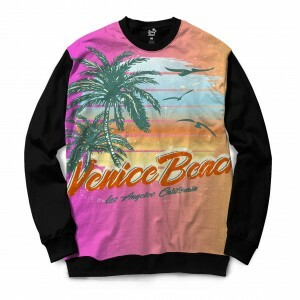 Moletom Gola Careca Long Beach Praia de Venice Full Print Roxo Brilho