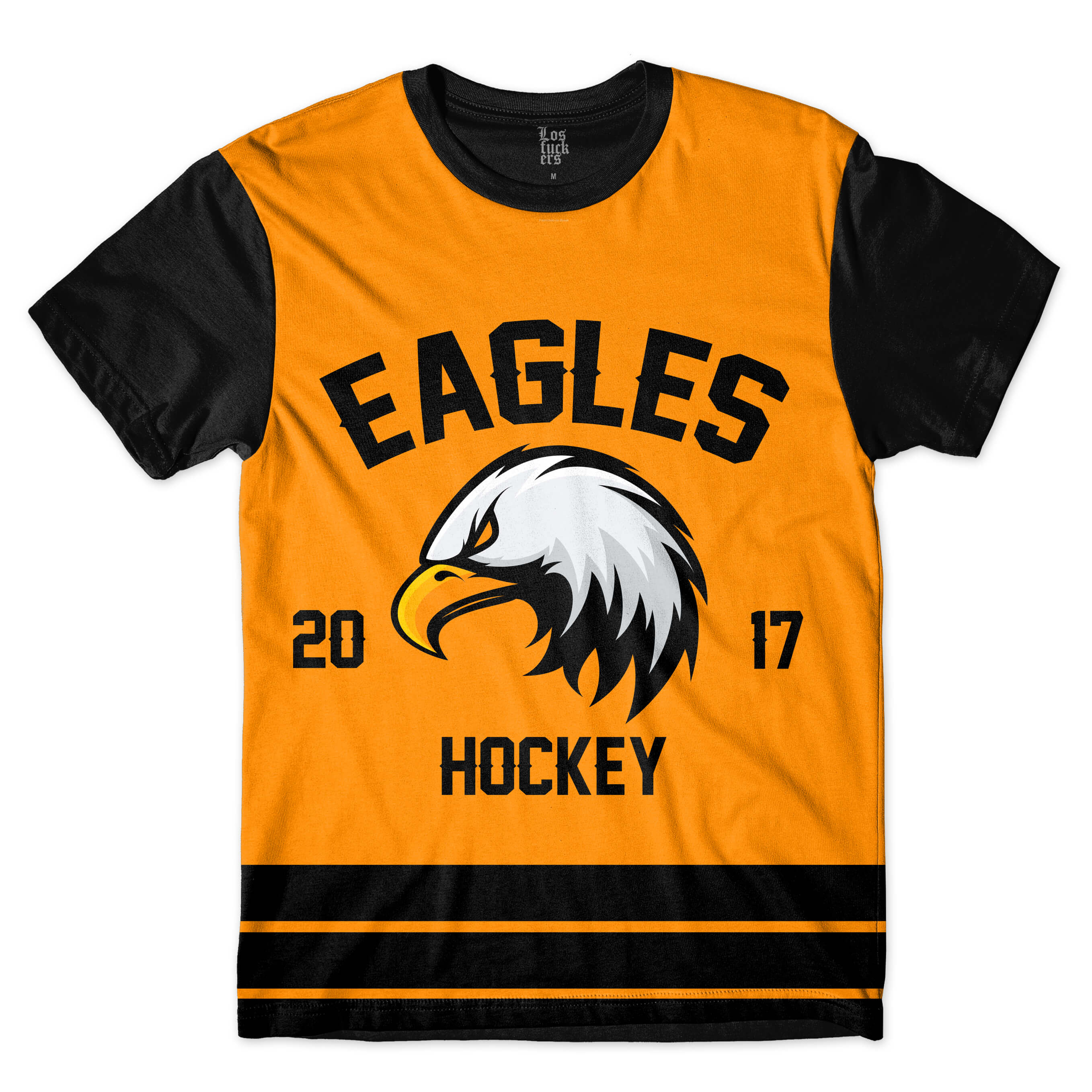 Camiseta Los Fuckers Hockey Eagles Full Print Preto / Amarelo
