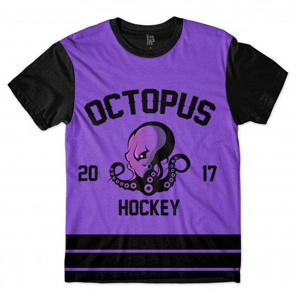 Camiseta Los Fuckers Hockey Octopus Full Print Preto / Roxo