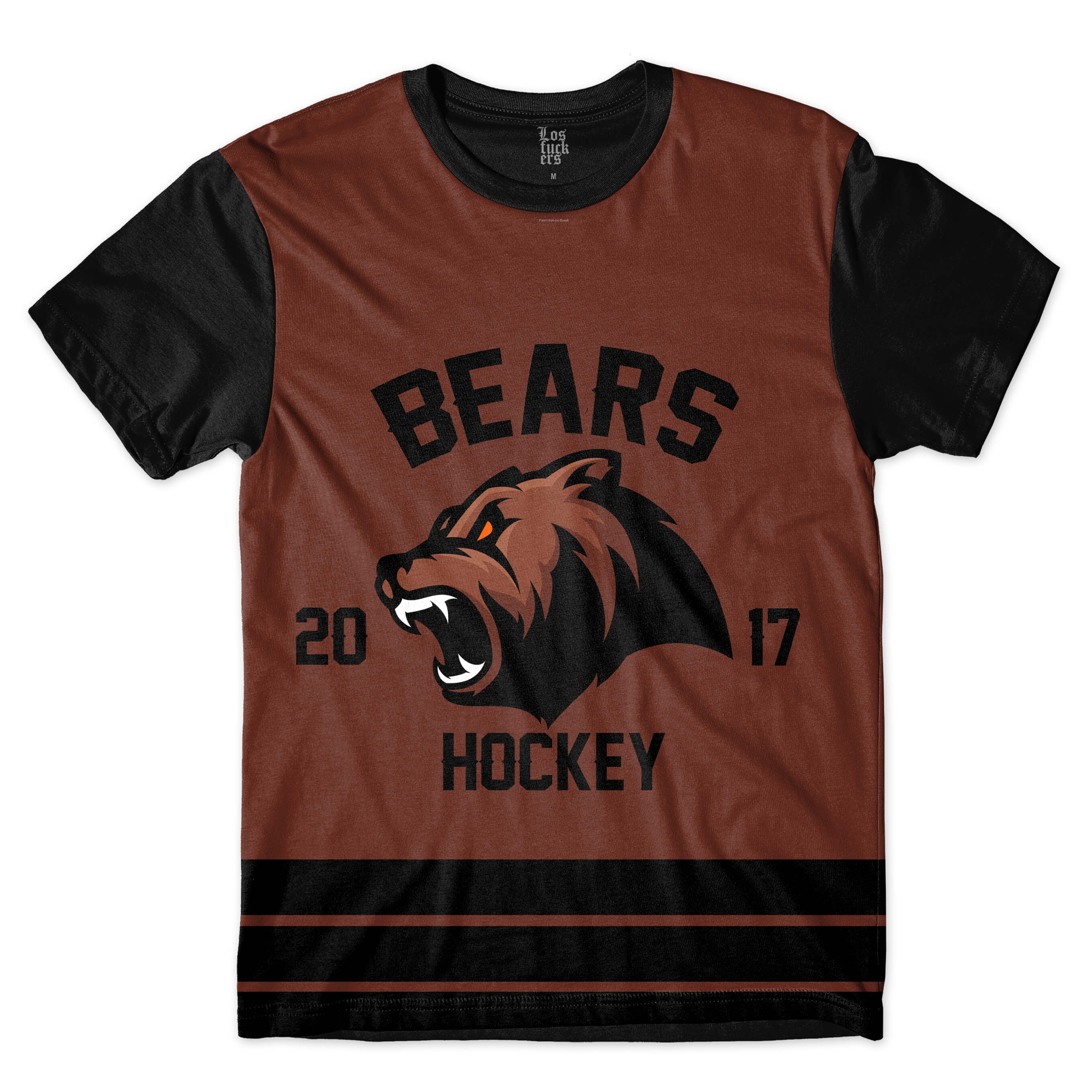 Camiseta Los Fuckers Hockey Bears Full Print Preto / Marrom