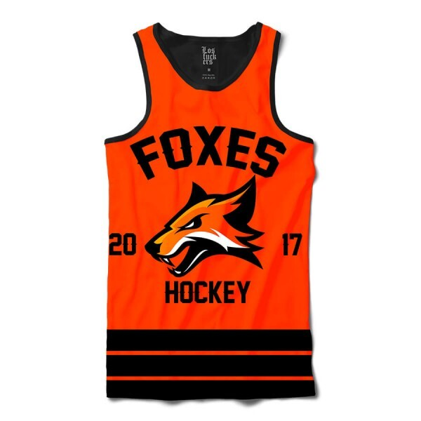 Camiseta Regata Los Fuckers Hockey Foxes Full Print Preto / Laranja