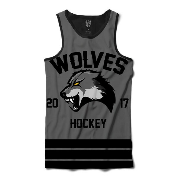 Camiseta Regata Los Fuckers Hockey Wolves Full Print Preto / Cinza